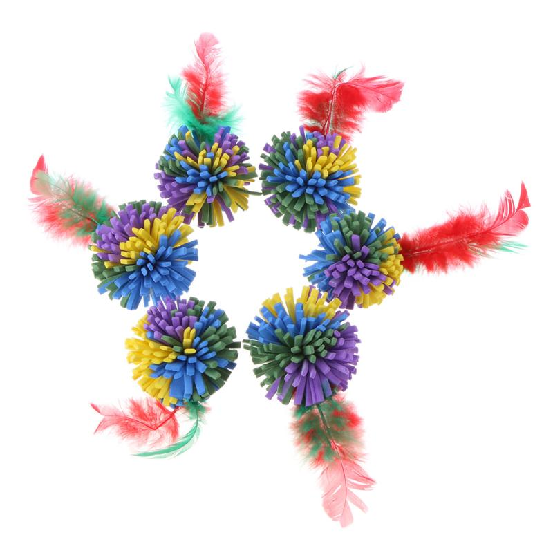 6pcs/lot Pet Soft EVA Flower Ball Interactive Cat Toys Colorful Feather Ball Cat Funny Playing Chew Toys Pet Supplies