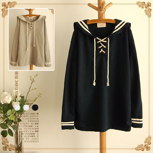 High quality Spring Lolita Cute Grey&Navy Blue Sailor Collar Full sleeve Cute Japan Loose Casual Autumn Mori Girl Short Dress