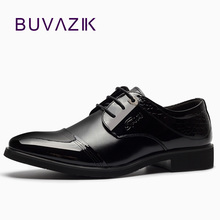 2018 men's Oxfords shoes wirh Genuine Leather dress shoes for Successful man high quality pointed toe shoes black shiny formal