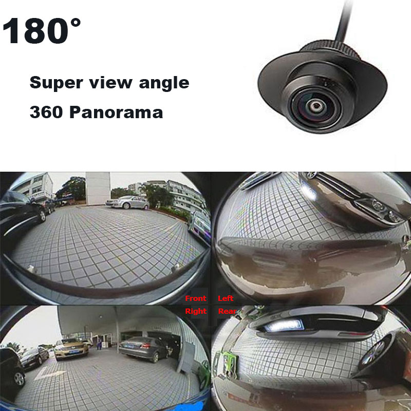 2Lines Control 180Degree Wide Angle Night Vision Car Camera Front/Side /Left/Right /Rear View Camera 360Rotation Universal Car