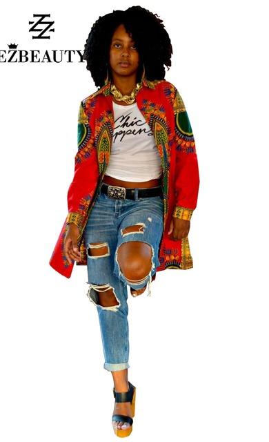 Mujer Africana de Impresión Capa Larga Outwear Mujeres Otoño Invierno 2016 Abrigo de Las Nuevas Mujeres Empalme Casual Outwear Venta Caliente