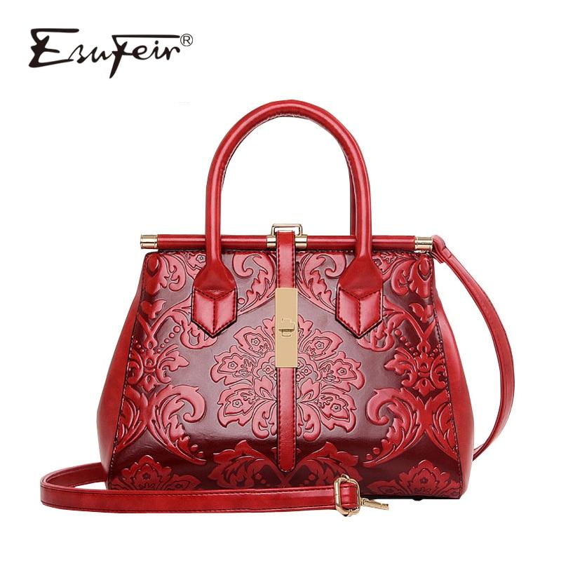 New 2016 Fashion Women Embossed Leather Handbag High Quality Leather Women Bag Vintage Shoulder Bag Chinese Style Ladies Bag