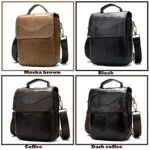 Image 4 - WESTAL Bolso de hombro de piel auténtica para hombre, bandolera vintage, diseño de bolsos, 8558