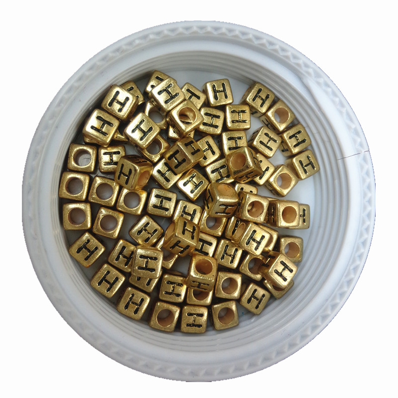 Beads Rapture Single Initial H Printing Cube Gold Acrylic Letters Beads 500pcs 2600pcs 6*6mm Plastic Alphabet English Character Jewelry Beads Profit Small Beads & Jewelry Making