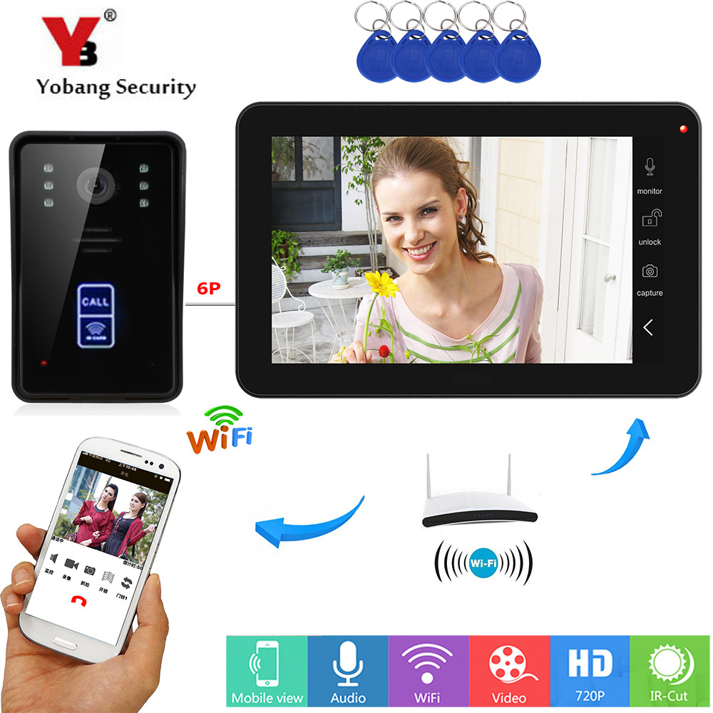 YobangSecurity RFID Access Video Intercom 9 Inch Monitor Wifi Wireless Video Door Phone Doorbell Speakephone Intercom System
