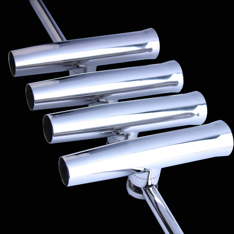 4 Set Of Adjustable Polished Fishing Rod Holder Stainless Steel Yacht Fishing Accessary