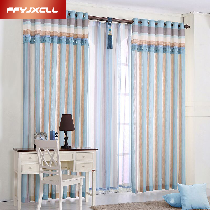 1 Pc Blue Striped Modern Modern Curtains For The Bedroom Elegant Elegant Window