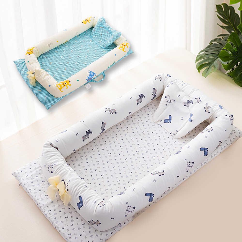 Детская кровать портативная складная детская кроватка мультяшное детское Мягкое хлопковое Гнездо Постельное для колыбели детская кроватка детское гнездо Хлопок Младенческая дорожная кровать