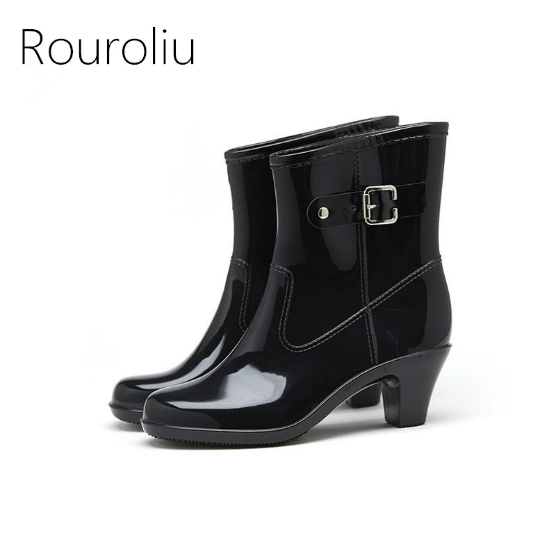 Rouroliu Women Fashion PVC Mid-calf Rain Boots Buckle High Heels Rainboots Waterproof Water Shoes Woman Wellies ZM95 free drop shipping new vogue adult women fashion rainboots pvc rain shoes buckle water rubber boots wellies bargin price black