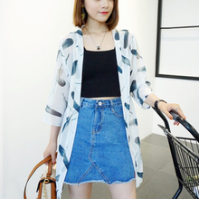 Fashion Print Floral Long Cover Up Blouse 3 / 4 Sleeve Chiffon Open Stitch Blusas Cardigan Loose Blusa Sunscreen Shirts One Size
