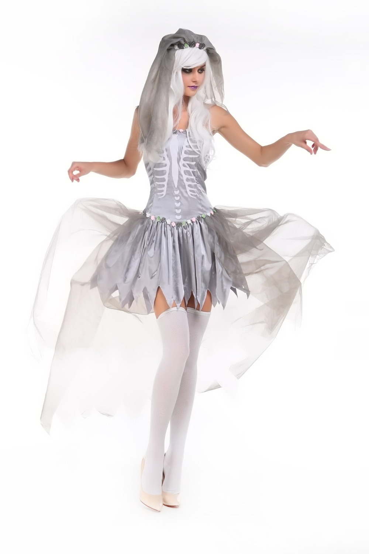 Сексуальный костюм дьявола для женщин Хэллоуин Невеста Чаки scarey Косплэй белый призрак платье с veilfancy дьявол торжественное платье