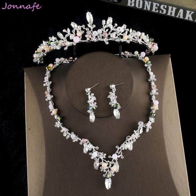 Jonnafe Silver Leaf Branch Wedding Tiara Necklace Earrings Birdal