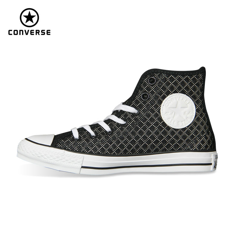 Original Converse black Stripe weave sneakers canvas shoes for unisex High Skateboarding Shoes 154118C
