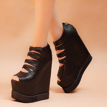 15cm High Heels Shoes Open Toe Summer Boots Increased Within Pumps Black Platform Wedges Shoes