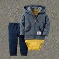 Los bebés Varones Primavera Ropa Del Niño Del Muchacho 3 Unids Suit Coat + Pants Encapuchado + Mameluco Recién Nacido Primavera Ropa 2017 nueva Llegada 15E