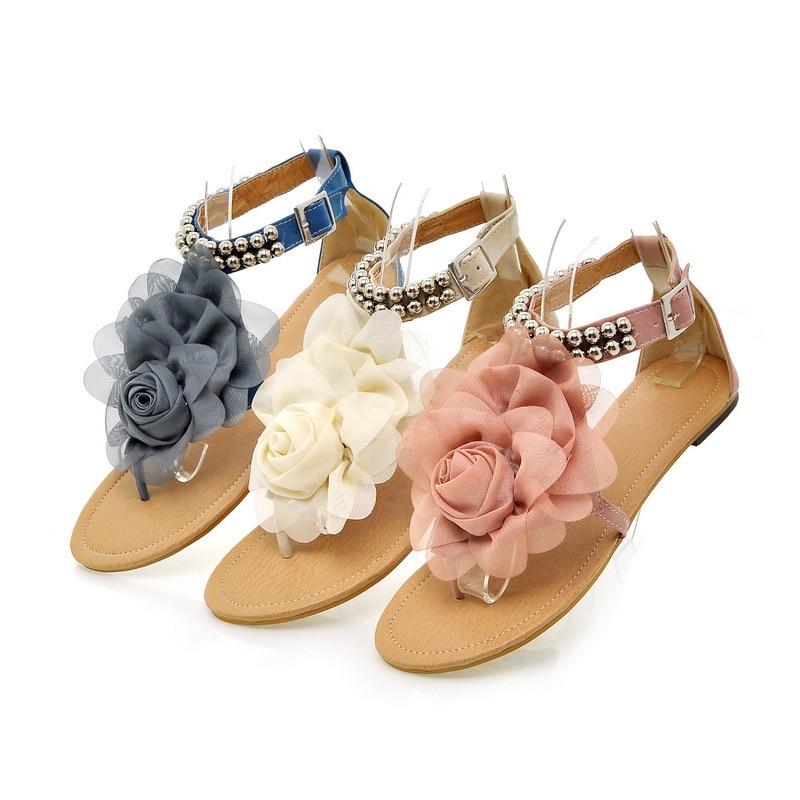 Big size Gladiator Sandals for Women Bohemia Beaded Summer Flower Flat Heels Flip Flops Women's Shoes Tstraps Sandals