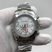Luxurysilverwatches Men 40mm Crownon glassWatchall small dial works white Dialday ton Ceramic Bezel Mechanical Watches AAA+