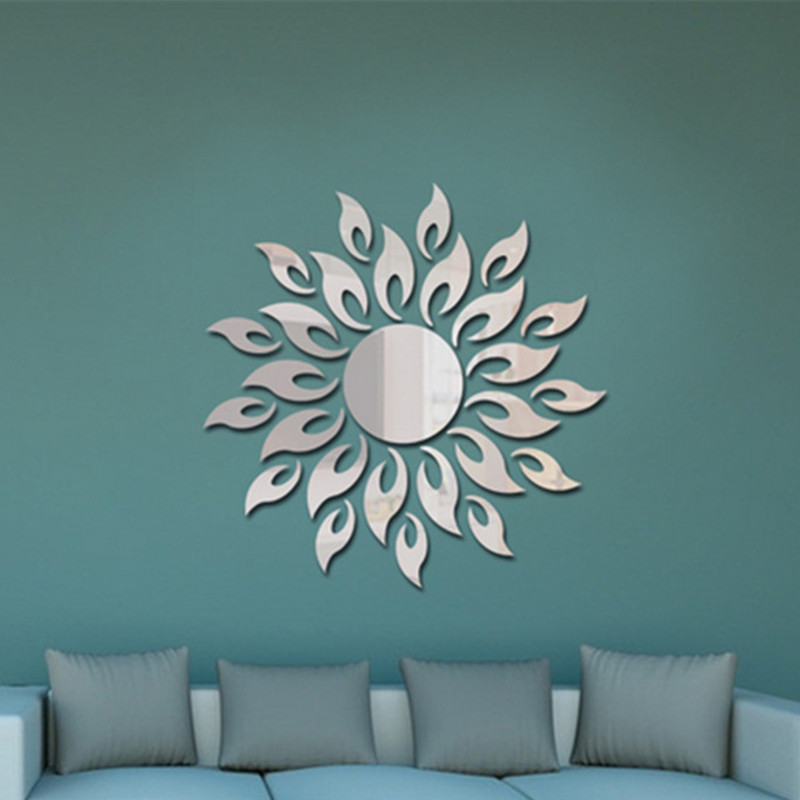 Urijk Sun Sunshine Fire Sunflower Wall Sticker 3D Mirror Effect Art Mural DIY Removable Decal Stickers Home Decorations αυτοκολλητα τοιχου καθρεπτησ