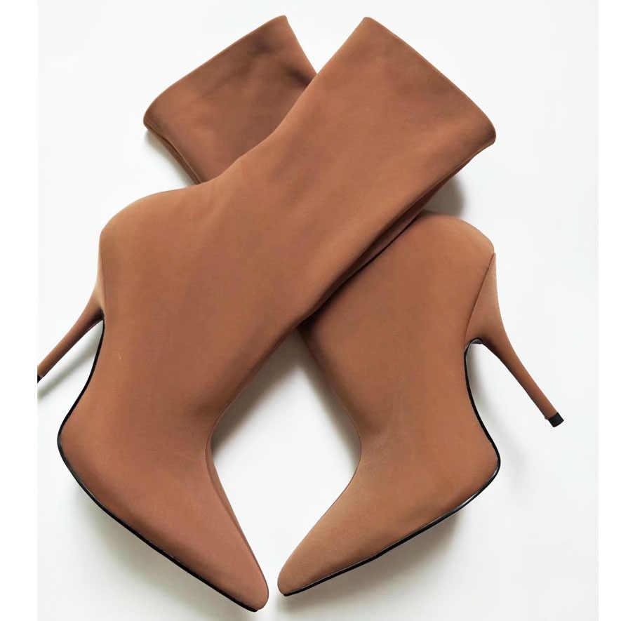 JAWAKYE Çiçek mor saten kadife Kadın Çorap Çizmeler Sivri Burun Orta Buzağı Çizmeler kadın Yüksek Topuklu Kadın Çizmeler Stiletto ayakkabı