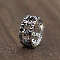 Katı Gümüş 925 Vintage Fluer De Lis Band Yüzük Erkekler kadın Gotik Antik 925 Gümüş Takı Moda Basit Tasarım hediye