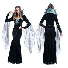Disfraces De Halloween para mujeres vampiro Conde disfraces negro vestidos  De La Reina Bruja Cosplay trajes Vestido De Festa 0e9f419175cc