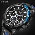 Мужские спортивные часы Megir с кожаным ремешком  кварцевые часы с хронографом  аналоговые наручные часы с 24 часами  светящиеся стрелки 2066G-BK