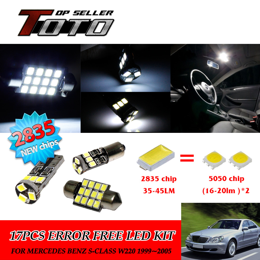 ФОТО 18x LED Car Auto Interior Canbus Dome Map Reading Light White 2835 Chips Kit For Mercedes Benz S-Class W220 1999~2005 #98