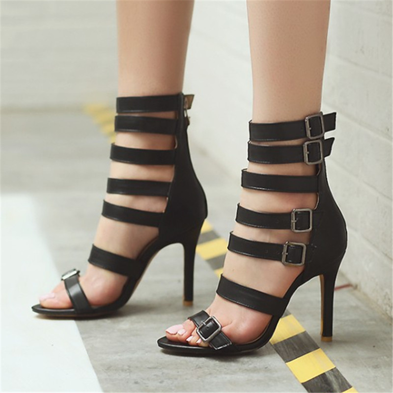 Plus Size 33-46 Women Sandals Fashion Zip Thin High Heel Summer Women Pumps Shoes Buckle Gladiator Party ladies Dress cool Boots plus size 33 43 new women sandals square thin heel summer ankle strap woman shoes red ladies fashion gladiator party pumps shoes