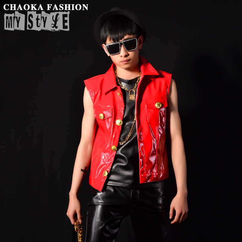 Special Personality DS Stage Costumes Red Super Motorcycle Vest Bar nightclub DJ male Lapel Brief Patent Leather Vest VSTINUS