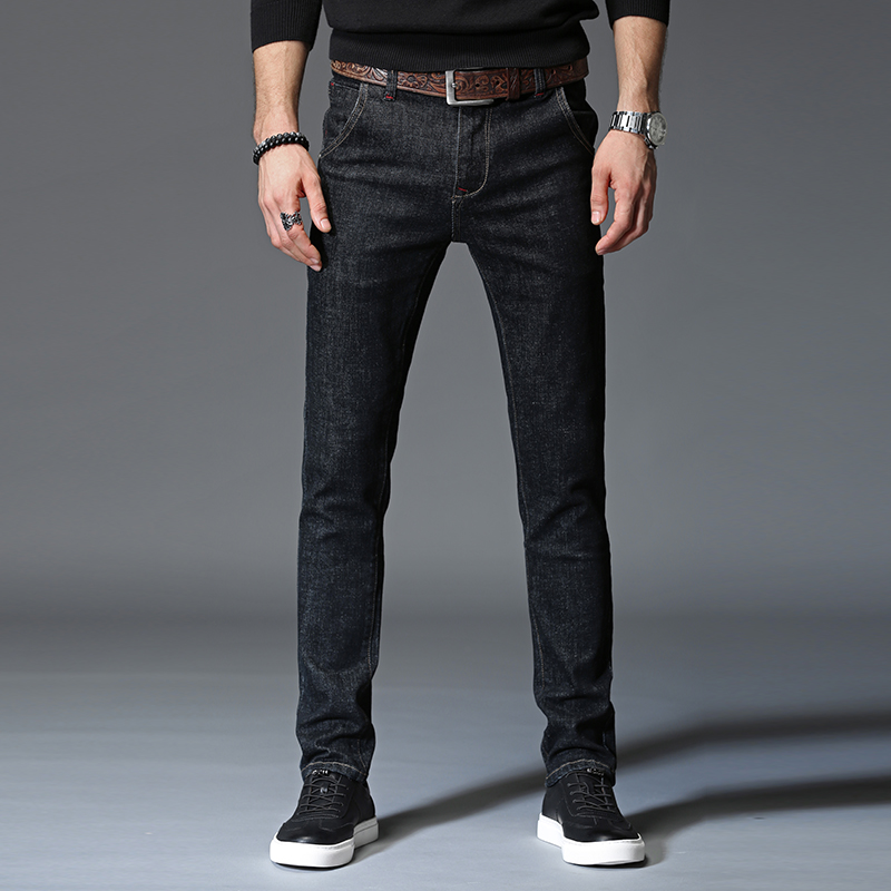 Four Seasons style Denim Jeans Men Casual Jeans Slim Straight Elasticity Jeans New Fashion Slim Mid Waist Pants Long Trousers hp q7516a black