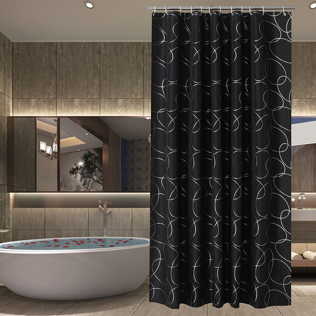 Slivery line Black luxury shower curtain Polyester 180x180cm size ...