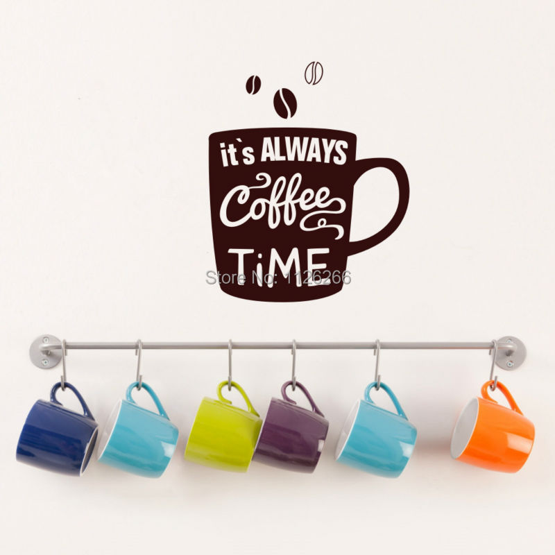 Vinyl Wall Sticker Quote Wall Decal Its Always Coffee Time Mural for Kitchen or Office