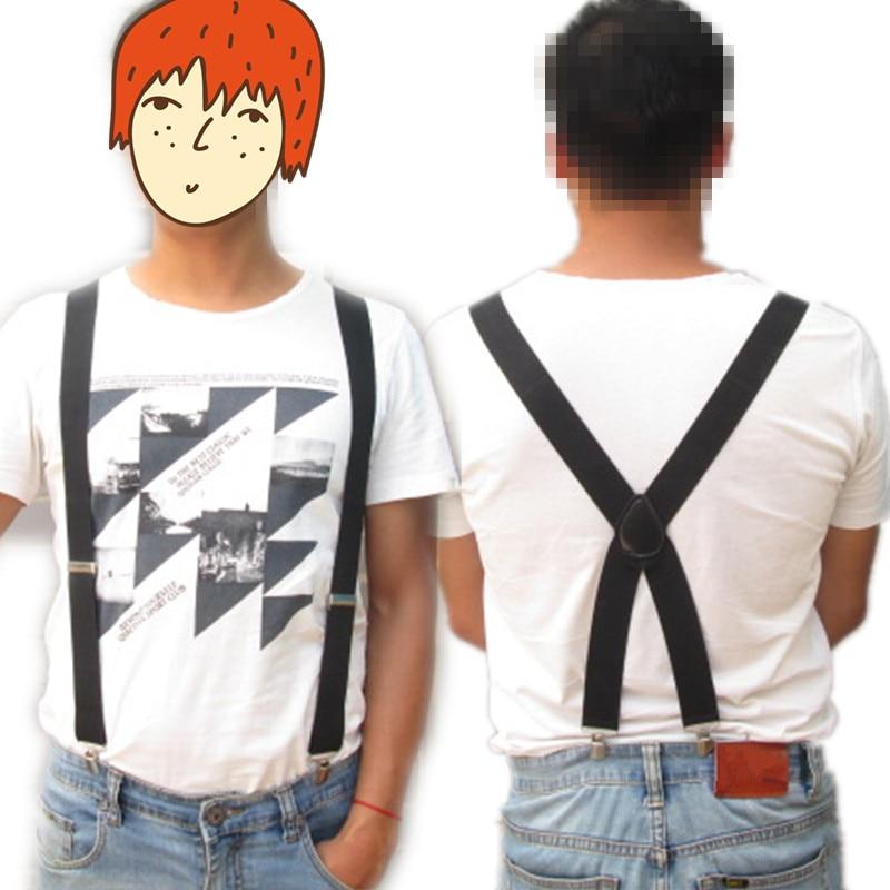 New Design Mens Leather Suspenders 3.5CM Width 4 Clips-on  Big Size X Back Braces Boys Girls Women Suspender BD057