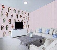 Custom 3D wallpaper modern minimalist love bird nest childrens room background wall painting - silk waterproof material