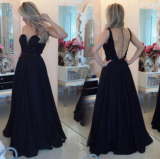 2017 Elegant   Evening     Dress   Black   Evening     Dresses   Sweetheart A Line See-through Back Sweep Train Formal Gowns Long Party   Dresses