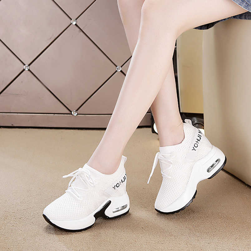 65231ee8f1 ... Z sport shoes woman breathable white wedges trend shoes fashion high  heels casual sneaker shoes women