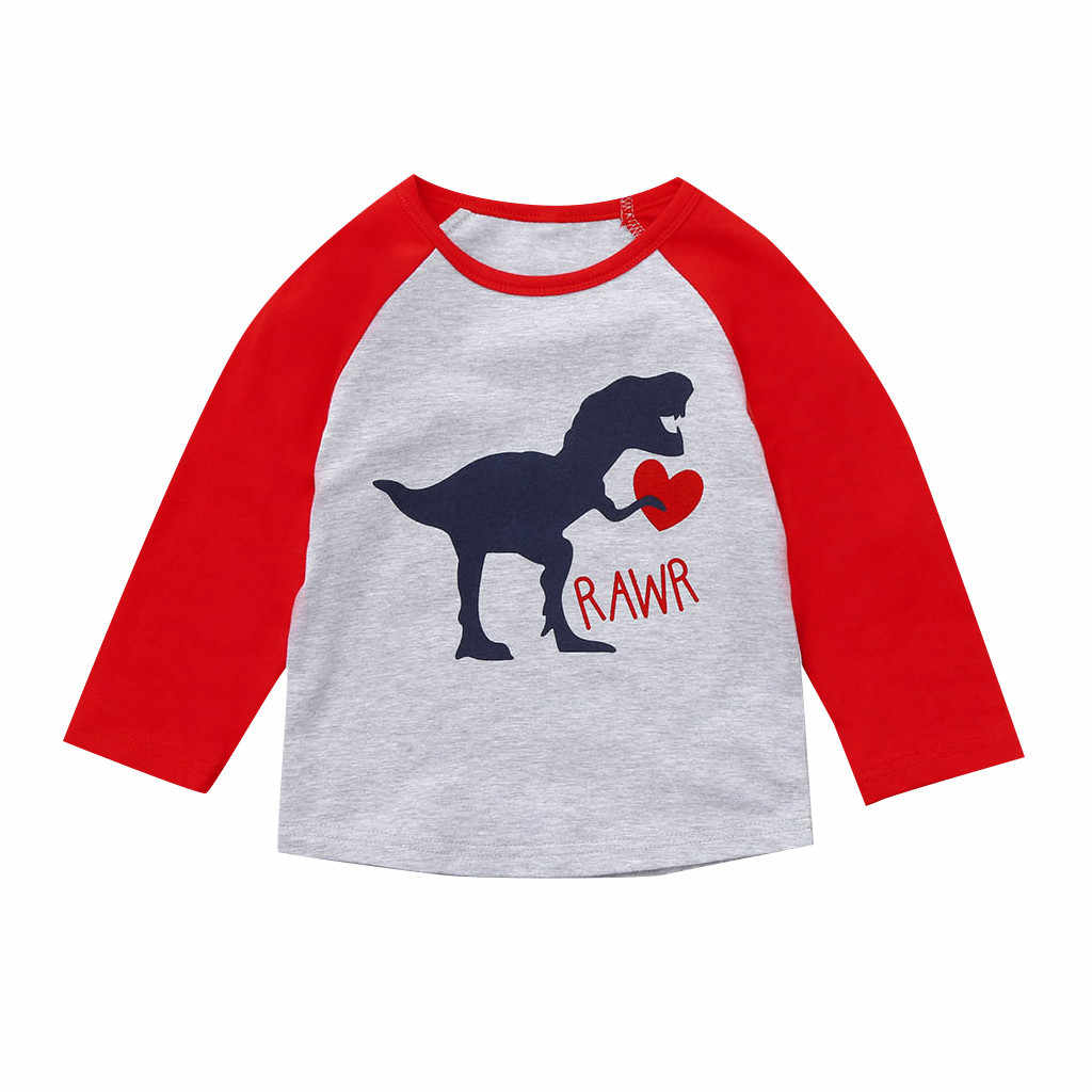 7246f8997 ... Kids Baby Boy Girl Family Valentine Shirt Cartoon Dinosaur Love Tee Tops  Outfits Cotton Long Sleeve ...
