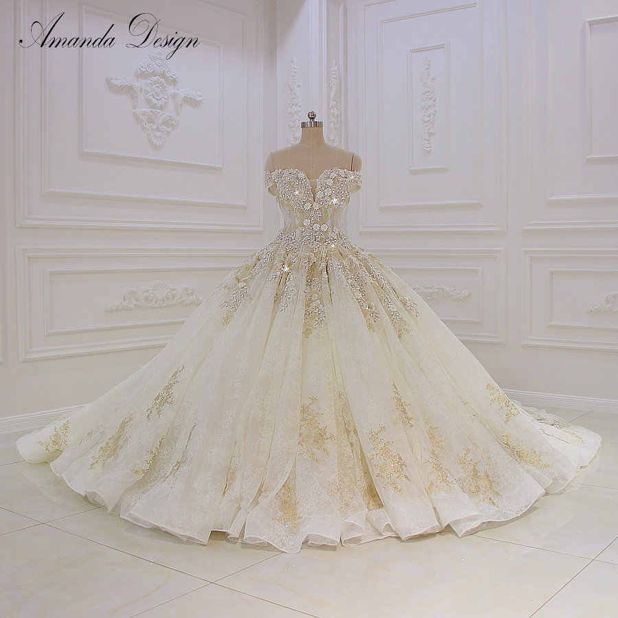 950a746c4dc robe de mariee Off Shoulder Short Lace Appliqued Flowers Luxury Wedding  Dress 2018