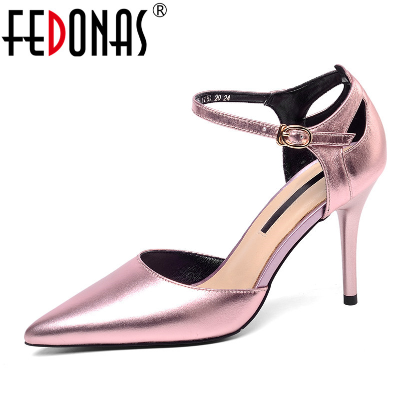 FEDONAS Fashion Concise Pointed Toe Women Pumps Classic Design Genuine Leather Party Wedding High Heels 2019