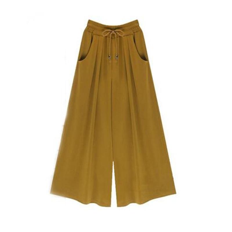 2017 womens fashion high elastic waist leg trousers slacks cutting loose, wide leg pants, skirts pants pants M - 6 xl pants