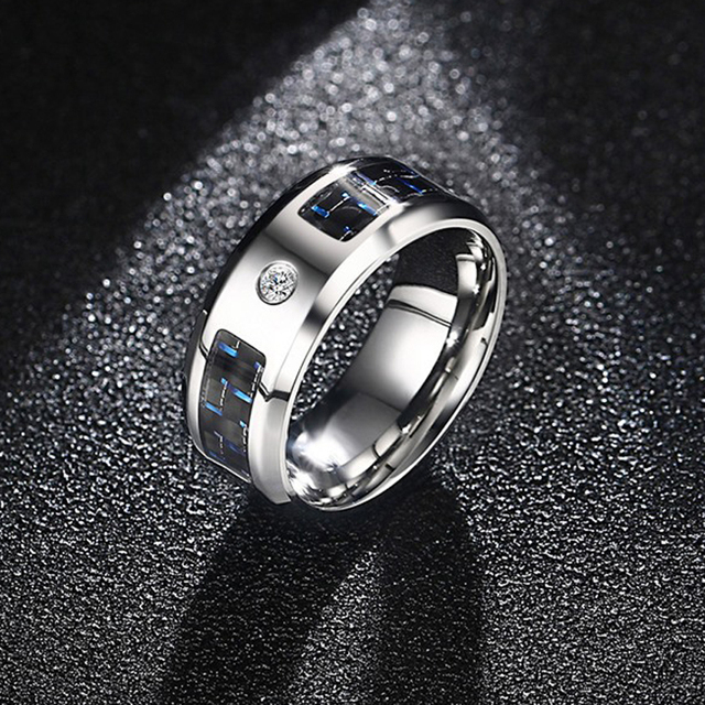 Men 8MM Cubic Zirconia & Black Carbon Fiber Inlay Wedding Band Ring with Stainle