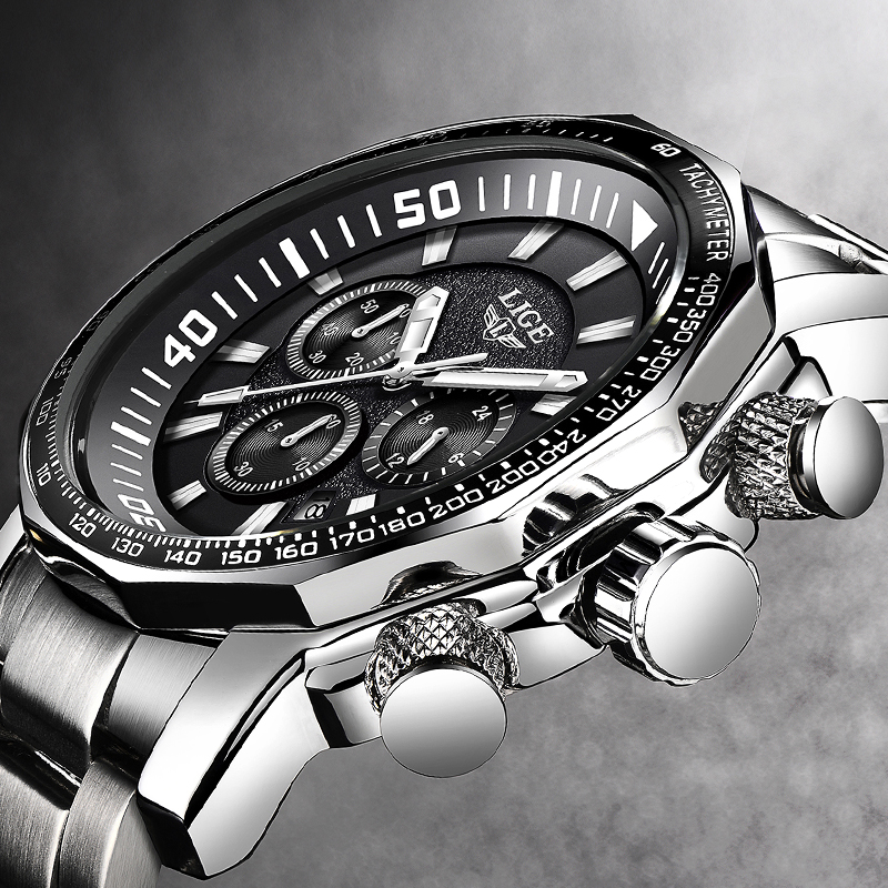 LIGE Black Men Watch Quartz Big Dial Luxury Brand Business Watch Mens Sport Waterproof male watches Timing clock Relojes Hombre+