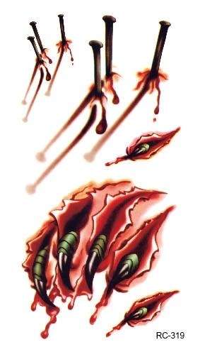 3d Halloween Wound Claw Blood Scar Fake Tattoo
