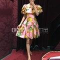 2017 runway designer nueva mini summer dress mujeres ruffles mangas fajas elásticas de piña impresión de slash cuello pink dress