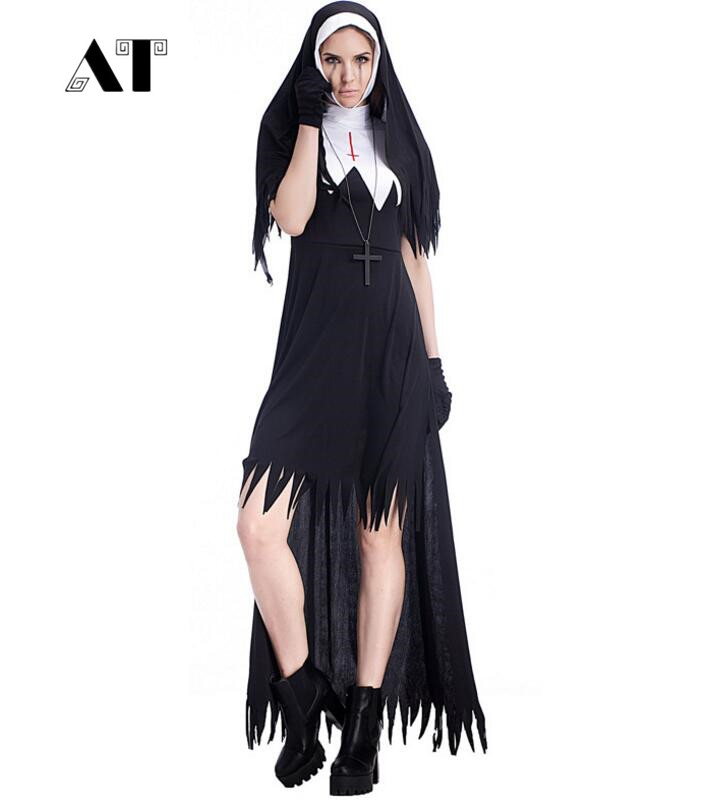 Online Shop Halloween Nun Costume Cosplay Donne Nero Vampire Fantasy Dress  Terrore Sorella Del Partito di Travestimento Femminile di Fantasia Per  Adulti ... f4d17f2607ac