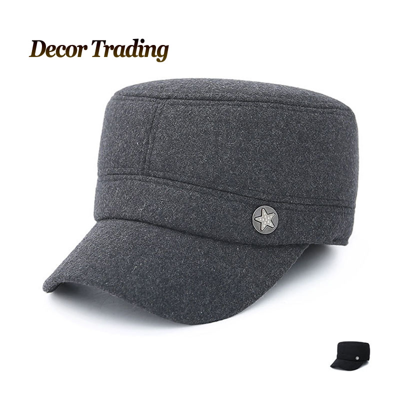 5fde42fabfc 2016 Warm Winter Flat Top Baseball Cap Men Brand Snapback Black Solid Bone  Winter Thick Hats For Man Ear Flaps-in Baseball Caps from Men s Clothing ...