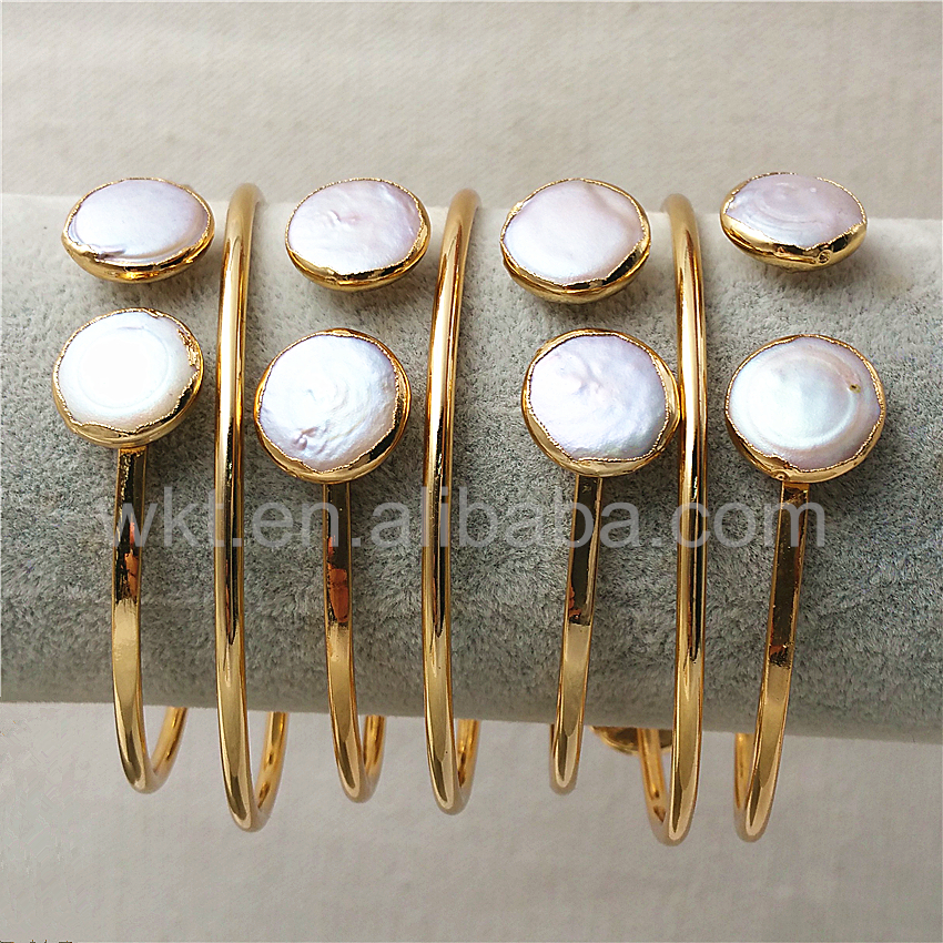 WT-B272 Wholesale Natural freshwater pearl bangles 24k gold trim adjutable Pearl charm bangle