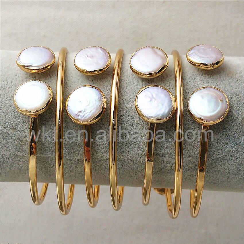 WT B272 en gros naturel perle d'eau douce bracelets 24 k or garniture réglable perle charme bracelet-in Bracelets from Bijoux et Accessoires    1