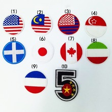 Country Flag patch Stripes Embroidered U.S.A Japan Turkey France Netherlands Tactical Military Patches Army Applique stripe
