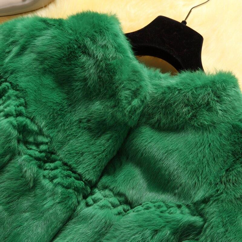 Naturel Réel Fourrure De Châle vert L'ensemble Mode Plein Col noir Pelt Mandarin Veste Peau Blanc Véritable Lapin Manteau Femmes VGUMjzLpqS